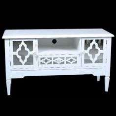 WHITE MIRRORED TV TABLE STAND CABINET VINTAGE STYLE