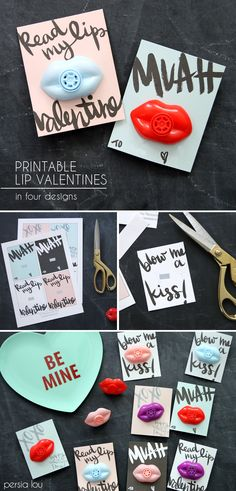 Free Printable Lip Valentines by Persia Lou