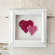 Pink Needle Felted Hearts in Up Cycled White Picture Frame. $20,00, via Etsy.
