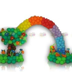 Balloons Arts  Get a real rainbow welcome your guests.   Rainbow Arch is an outstanding work of balloons that anyone can ever imagine