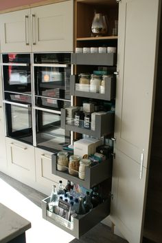 Blum Space Tower solution @ Saffron Interiors, Guildford. #spacetower #blum #storage #kitchen #design