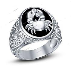 14k White Gold Finish Simulated Diamond Cancer Zodiac Sign Men's Band Ring 7-14…