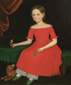 Portrait of a Winsome Young Girl in Red with Green Slippers, Dog and Bird by Ammi Phillips | Art Posters & Prints