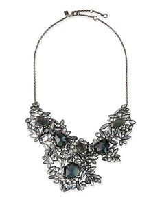 Y25MW Alexis Bittar Marquise Cluster Bib Necklace with Fancy Blue Crystal & Pyrite Doublets