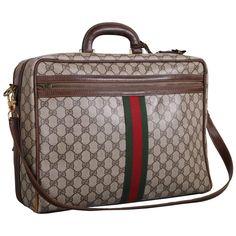 cdceb04c793 1970 s Gucci Canvas   Leather Travel Bag W gg Diamond Web