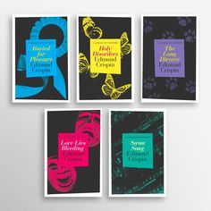 Edmund Crispin covers. Love the continuity between them, but that each is still individual.