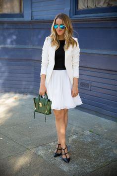 1.14 white suit (Theory blazer + Alice & Olivia top + Alice & Olivia skirt + Valentino heels + 3.1 Phillip Lim bag + Ray Ban aviators)