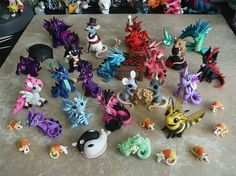 Sculptober: Rain by DragonsAndBeasties on DeviantArt Polymer Clay Dragon, Polymer Clay Animals, Cute Polymer Clay, Cute Clay, Polymer Clay Dolls, Polymer Clay Miniatures, Polymer Clay Projects, Polymer Clay Charms, Clay Crafts