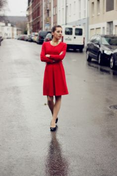 Red Dress Streetstyle Fashion Outfit