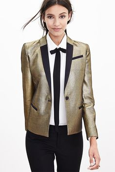 fall / winter - street chic style - street style - fall outfits - winter outfits - holiday outfits - party outfits - office wear - business casual - work outfits - gold blazer + black and white tie neck shirt + black ankle pants + black stilettos