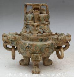 "10"" Chinese Dynasty Old Jade Temple Dragon Handle 3 Foot Incense Burner Censer"