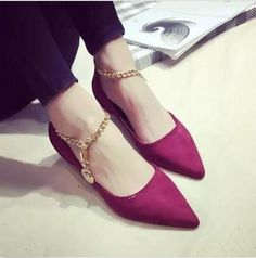 Womens Flats Loafers Korea Pointed Toe Ballet Ankle Chain Strap Shoes W058