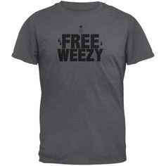 Old Glory Free Weezy Charcoal T-Shirt Old Glory, High Quality T Shirts, S Man, Charcoal, Unisex, Lil Wayne, Mens Tops, Black, Free