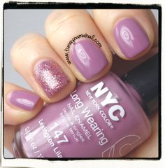 On the blog, a review of NYC Colors nail polishes! Lexington Lilac & Pink Bling.