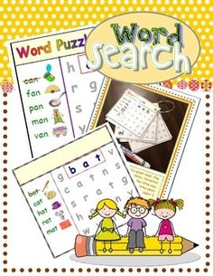 MINI PUZZLES (print 4 on a page) .... Practice letter/sound relationships while having fun with this set of puzzles teaching decodable CVC word families.  A great Skills Block or Centers Activity!  COMPLETE SET AVAILABLE HERE: CVC Word Search Complete Set (AEIOU)  INSTRUCTIONS: Step 1:  Print puzzles (4 on each  8 1/2 x 11 sheet of paper).