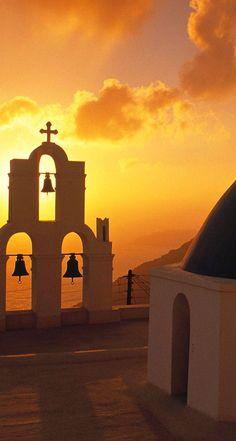 Santorini Greece, sunset & religion