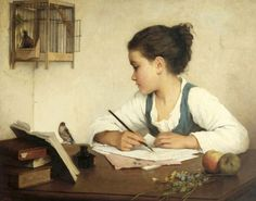 """A Girl Writing,"" Henriette Browne (1829-1901,French)"