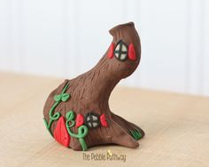 Gnome Home, Fairy House, polymer clay miniature Tree house