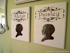 DIY Children's Profile Plaques {all things thrifty} #wallart #diy #craft