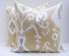 Tan Ikat Pillow Cover White and Gray Modern Ikat TWO 20x20  covers. $36.00, via Etsy.