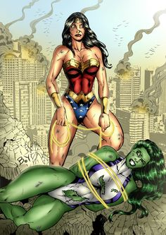 she hulk vs wonder woman | She-Hulk vs Wonder Woman by ~venneker on deviantART