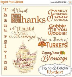 50% OFF TODAY Thanksgiving Word Art Digital Titles for Digital Scrapbooking, Fall Cards, Crafts, Bible Journaling Instant Download  #fall #autumn #halloween #thanksgiving #scrapbooking #memories #craft #digiscrapdelights #clipart