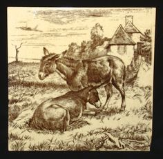 William Wise Brown Transfer Printed Minton Tile ~ BURRO 1879