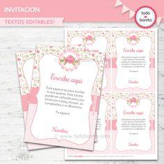 Invitaciones, estampitas, tarjetas Shabby Chic para imprimir