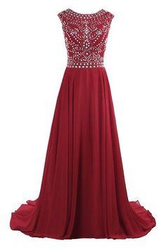 Dresstore Women's Long Chiffon Bridesmaid Dress Cap Sleeves Beaded Prom Evening Gown: Amazon Fashion