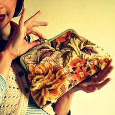 'Kitty' vintage fabric clutch purse - wildflower posy £35.00