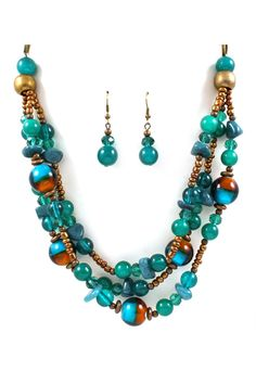 Adella Necklace and Earrings in Teal.