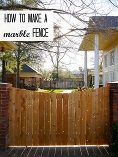 Drill hole in fence and insert glass marbles! 15 Privacy Fences That Will Turn Your Yard Into a Secluded Oasis Outdoor Spaces, Outdoor Living, Outdoor Decor, Outdoor Life, Marble Fence, Marble Wood, Diy Fence, Fence Ideas, Fence Gate