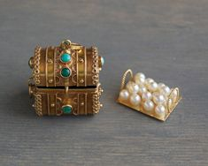 Vintage 18k Etruscan Treasure Chest Charm Pendant, with Pearl Loot by MintAndMade