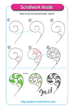 Scrollwork Inside von Ina Sonnenmoser - Another! Tangle Doodle, Tangle Art, Zen Doodle, Doodle Art, Zentangle Drawings, Doodles Zentangles, Doodle Drawings, Easy Drawings, Doodle Patterns