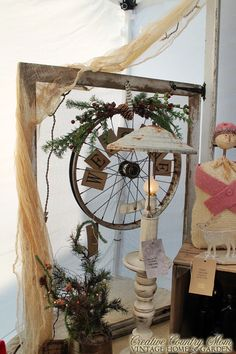 Creative Country Mom: Sweet Corner Display with Newly Painted Vintage Chair Christmas Shows, Christmas Love, Country Christmas, Christmas Holidays, Christmas Crafts, Christmas Decorations, Bicycle Wheel, Bicycle Art, Booth Decor
