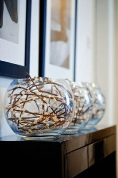 pussy willow stems in glass bowl vases @ Do it Yourself Home Ideas