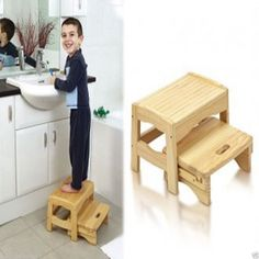 Safety 1st Wooden 2 Step Stool- 2levels - With Pull Out Step!!! Brand New