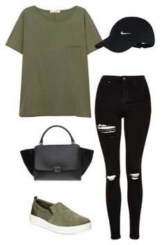 """""""Olive green"""" by outfits-by-jahan on Polyvore featuring rag & bone/JEAN, Topshop, Easy Spirit, NIKE and CÉLINE"""