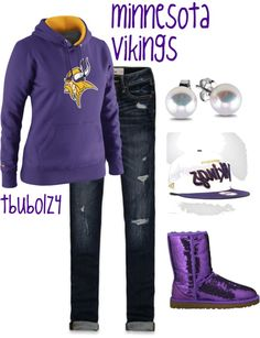 """MINNESOTA VIKINGS."" by tbubolz4 on Polyvore, except for the sparkly uggs"