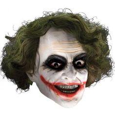 Masque Joker 3/4 avec cheveux adulte et ados, Licence Officielle Batman The Dark Knight, Halloween