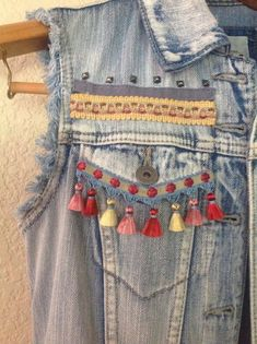 This item is unavailable Embroidered Denim Jacket, Embellished Jeans, Denim Crafts, Altering Clothes, Denim Top, Denim Fashion, Boho Chic, Bohemian Style, Refashion