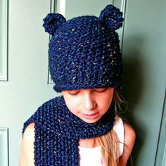 Navy Blue Bear Knit Hat and Scarf Set for Kids to by LuLusWoobies