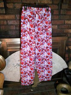 Ladies Pajama Pants Red Hat Gloves Purple Elastic Waist Sz L Cotton EUC #Gotkeys #LoungePantsSleepShorts #Everyday