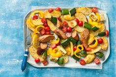 Mediterrane braadworst met ovengroenten - Recept - Allerhande