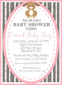Woodsy Bunny Baby Shower Invitation Pink And Gray   Woodland Creatures