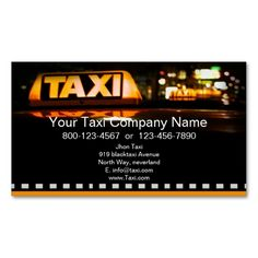 Yellow taxi in black city business card. This is a fully customizable business card and available on several paper types for your needs. You can upload your own image or use the image as is. Just click this template to get started!
