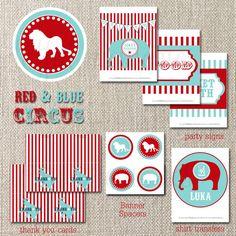 red + aqua circus printable party pack