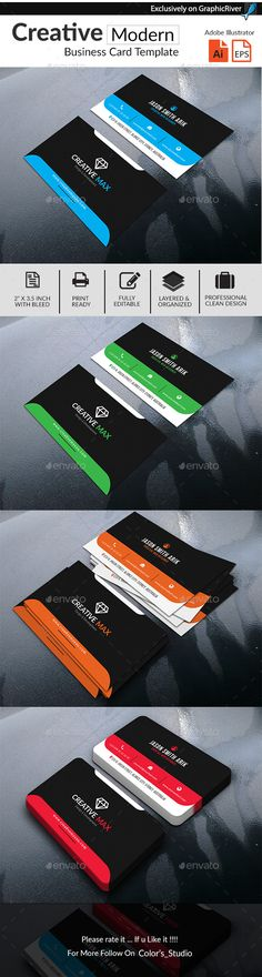 Creative Modern #Business #Card - Business Cards #Print Templates Download here: https://graphicriver.net/item/creative-modern-business-card/20104442?ref=alena994