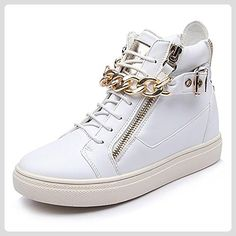 SONGYUNYAN Damen Casual High-End echtes Rindsleder erhöhte Dicke der Kette Fashion Sneaker wei?35 36 37 38 39 , white , 38 - Sneakers für frauen (*Partner-Link)