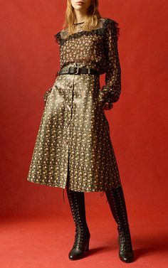 Floral Printed Eco Leather Skirt by PHILOSOPHY DI LORENZO SERAFINI for Preorder on Moda Operandi